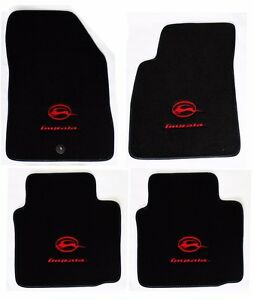 New Black Floor Mats 2006 2014 Chevy Impala Embroidered Running Double Logo A4