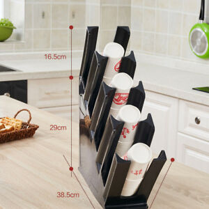 Paper Cup Lid Holder Dispenser Coffee Drink Stand Cafe Home Buffet Bk