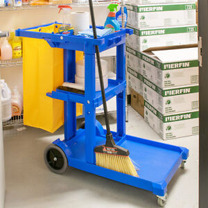 Lavex Janitorial Cleaning Cart Janitor Cart With 3 Shelves And Vinyl Bag