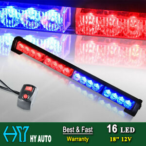 18 16 Led Emergency Warning Traffic Advisor Flash Strobe Light Bar Red