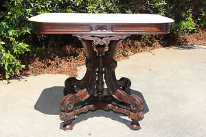Large Fancy Walnut Victorian Marble Top Table With Ornate Stretcher Base Ca 1870