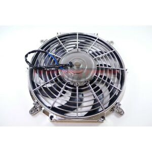 12 Chrome S blade Electric Radiator Universal Cooling Fan Curved Blade Chevy Gm