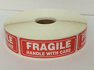 2 Rolls 1 X 3 Fragile Handle With Care 2000 Stickers 1000 Per Roll