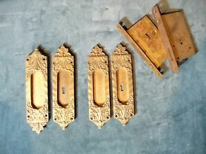 Extremely Rare Veroccio Antique Pocket Door Hardware Set Complete