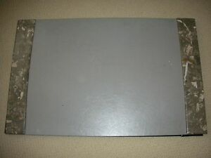 Gray Leather Stone Desk Blotter With Note Paper Holder