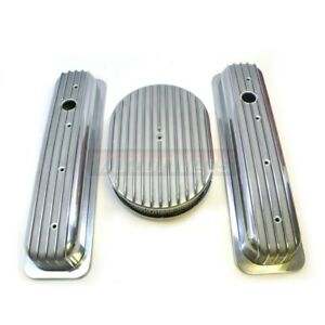 Retro Chevy Polished Aluminum Finned Center Bolt Valve Cover 12 Air Cleaner Sbc
