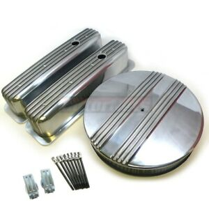 Small Block Chevy Finned Center Bolt Aluminum Engine Dress Up Kit 87 Tall Sbc