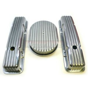 Sbc Small Block Chevy Aluminum Fin Valve Covers Air Cleaner Dress Up Nostalgic