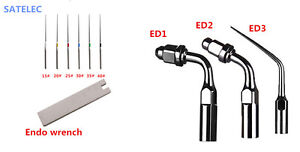 Dental Ultrasonic Endodontic Tips Set Ed1 Ed2 Ed3 Ufile Wrench For Satelec Dte