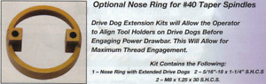 Torque rite Power Drawbar Optional Nose Ring For Cat 40 Spindles