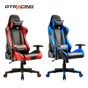 Gtracing High Back Gaming Chair Pu Leather Chair Adjustable Recline Office Chair