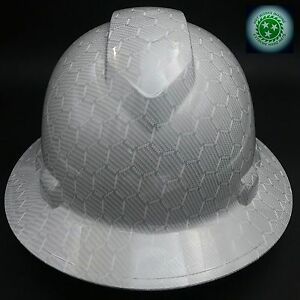 Full Brim Hard Hat Custom Hydro Dipped New White Hex Carbon Fiber Hot