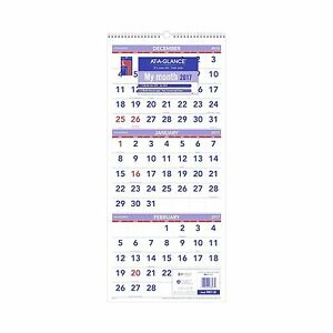 At a glance Wall Calendar 2017 Three Month View 14 Months Decem Free Shipping
