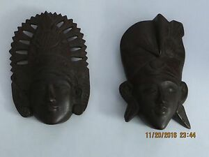 Thai Wood Carvings Pair Ot Two Thai Wood Carved Faces