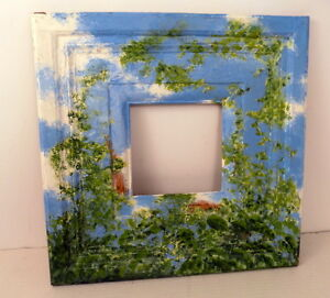 Vintage Folk Art Painted Picture Frame Tole Painting Chic Garden Scene Shabby