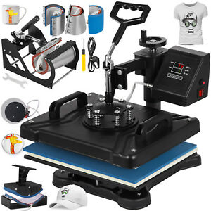 8 In 1 Transfer Sublimation T shirt Mug Hat Plate Cap Heat Press Machine New
