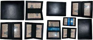 Lot Of 10 New Slim Leather Business credit Card Id Card Picture Holder 2 Ids 1