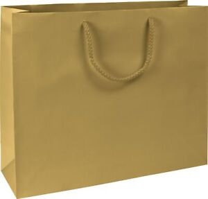 100 Premium Gold Matte Paper Bag Euro shoppers Rope Handle 16 X 4 3 4 X 13