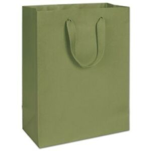 100 Greenwich Green Manhattan Paper Bags Eco Euro shoppers 10 X 5 X 13