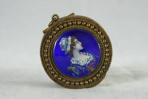 Antique Bronze Dore Hand Painted Enamel Portrait Patch Box Or Tiny Compact