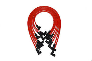 A team Small Block Chevy Sbc 350 Red 8mm Hei Spark Plug Wires Under Exhaust