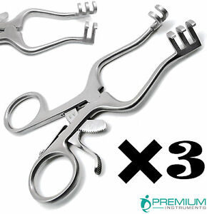 3 Pcs Surgical Weitlaner Retractors 4 5 Blunt 3x4 Prongs Veterinary Instruments