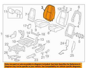 Gm Oem Front Seat cushion Cover top Back 20843355