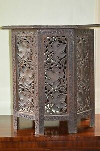 Antique 19th Century Indian Intricately Carved Hexagonal Side Table C1880
