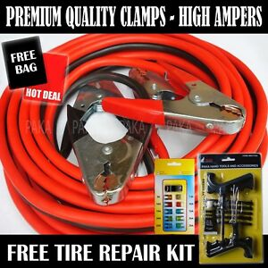 Heavy Duty 20 Ft 2 Gauge Booster Cable Jumping Cable Tire Repair Kit Car Fuse