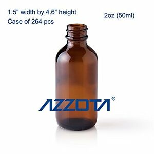 Azzota 2oz 50ml Amber Glass Vials 0 68 Each Case Of 264 Pcs V50 a 264
