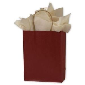 250 Brick Red Color on kraft Paper Bags Shoppers 8 1 4 X 4 3 4 X 10 1 2