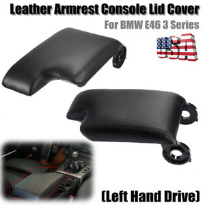 Black Leather Center Console Lid Armrest Cover Storage Box For Bmw E46 99 04