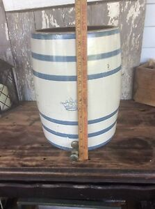 Five Gallon Water Crock Blue Crown Blue White Antique Country Farm Crock