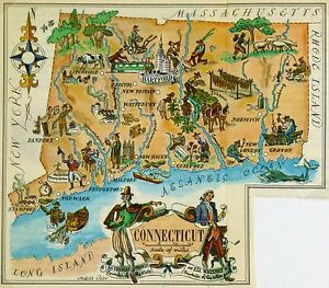 Connecticut Antique Vintage Pictorial Map