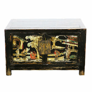 Antique Asian Chinese 35 Wide 21 T 2 Door Black Cabinet W Colorful Paintings