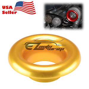 4 Gold Short Ram Cold Air Intake Turbo Horn Aluminum Velocity Stack Adapter