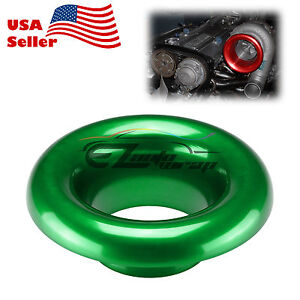 3 5 Green Short Ram Cold Air Intake Turbo Horn Aluminum Velocity Stack Adapter
