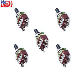 5 Pack Heavy Duty 20a 125v Spdt 3 Term On Off On Momentary Toggle Switch Hot