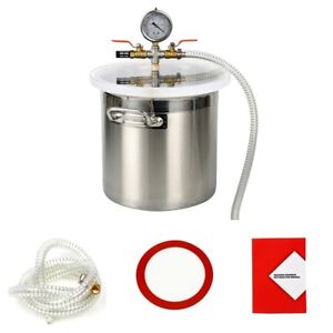 3 Gallon Stainless Steel Vacuum Degassing Chamber Acrylic Crystal Lid Us Ship