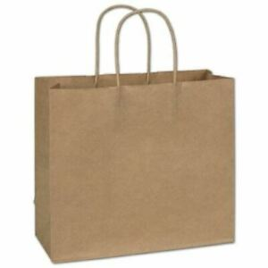 250 Kraft Gift Merchandise Paper Bags Shoppers Lindsey 12 X 5 X 10 1 2