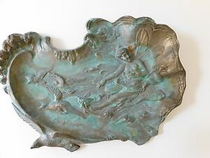 Antique Art Nouveau Cast Metal Tray Art Nouveau Water Nymph Fairy Large Tray 16