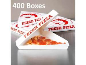 400 pack Choice White Clay Coated Clamshell Pizza Slice Box