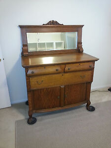 Antique Oak Claw Foot 3 Drawer Bow Front Cupboard Dresser With Beveled Mirror