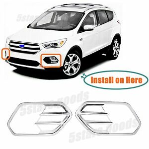 Accessories Chrome Pair Front Fog Light Covers For 2017 2019 Ford Escape Suv