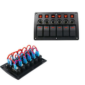3 Pin 6 Gang Red Led Car Switch Panel Breakers Overload Protected Switch Panel