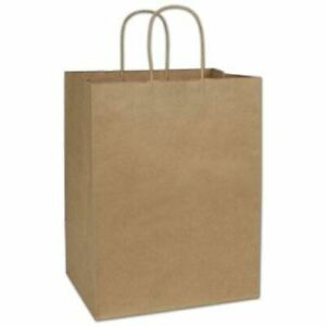 200 Recycled Kraft Gift Merchandise Paper Bags Shoppers Lindsey 12 X 9 X 15 1 2