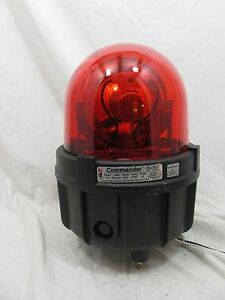 Federal Commander Rotating Red Warning Beacon Light 371l W Base