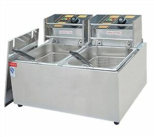 Dual Tank Commercial Electric Deep Fryer Fast Food Frying Machine 11l 220v