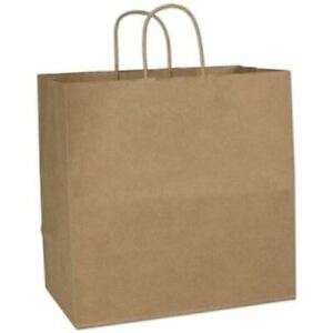 200 Recycled Kraft Gift Merchandise Paper Bags Shoppers Escort 14 X 8 X 14 1 2