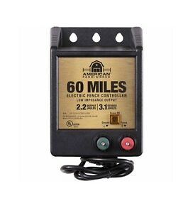 American Farm Works 60 Mile Ac Low Impedance Electric Fence Controller New